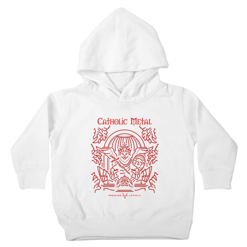 PHL 5: St Micheal Defeating Satan Line Art (Red) Kids Toddler Pullover Hoody by Catholic Metal Merch