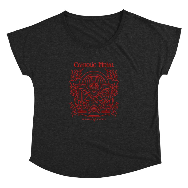 PHL 5: St Micheal Defeating Satan Line Art (Red) Women's Dolman by Catholic Metal Merch