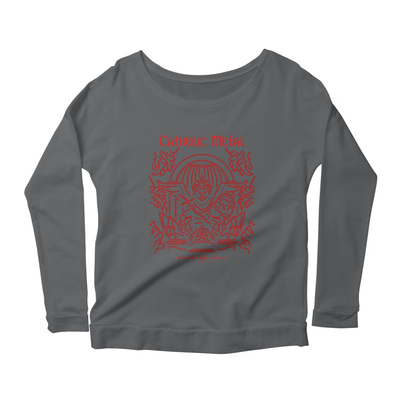 PHL 5: St Micheal Defeating Satan Line Art (Red) Women's Longsleeve Scoopneck  by Catholic Metal Merch