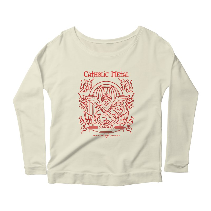 PHL 5: St Micheal Defeating Satan Line Art (Red) Women's Scoop Neck Longsleeve T-Shirt by Catholic Metal Merch