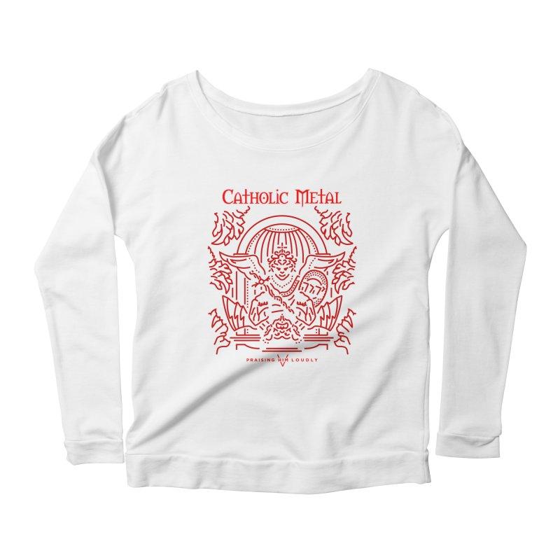 PHL 5: St Micheal Defeating Satan Line Art (Red) Women's Scoop Neck Longsleeve T-Shirt by Catholic Metal Merch