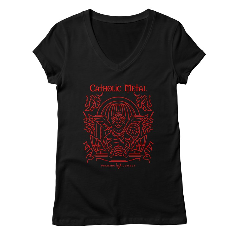 PHL 5: St Micheal Defeating Satan Line Art (Red) Women's V-Neck by Catholic Metal Merch