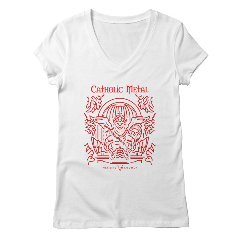 PHL 5: St Micheal Defeating Satan Line Art (Red) Women's Regular V-Neck by Catholic Metal Merch