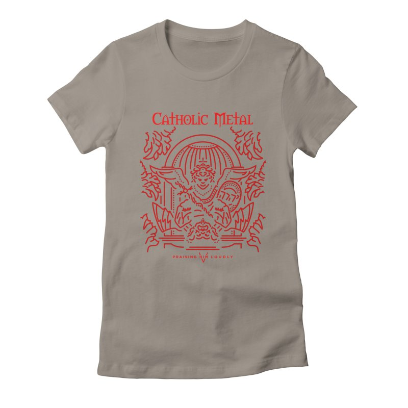 PHL 5: St Micheal Defeating Satan Line Art (Red) Women's Fitted T-Shirt by Catholic Metal Merch