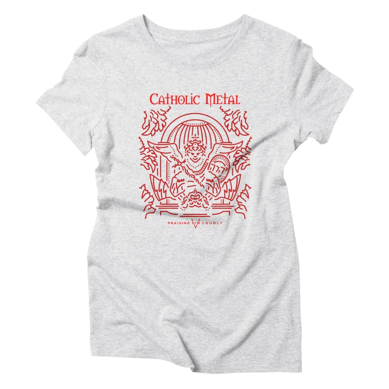 PHL 5: St Micheal Defeating Satan Line Art (Red) Women's Triblend T-Shirt by Catholic Metal Merch