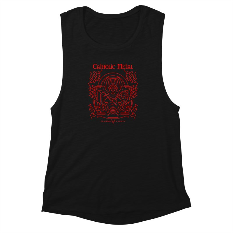 PHL 5: St Micheal Defeating Satan Line Art (Red) Women's Muscle Tank by Catholic Metal Merch