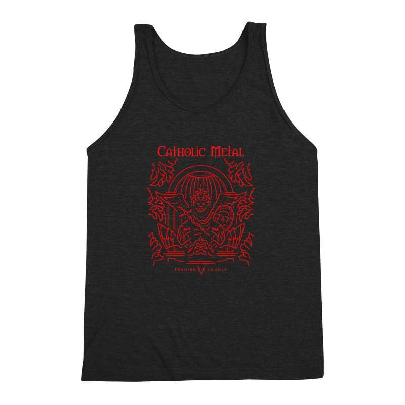 PHL 5: St Micheal Defeating Satan Line Art (Red) Men's Triblend Tank by Catholic Metal Merch