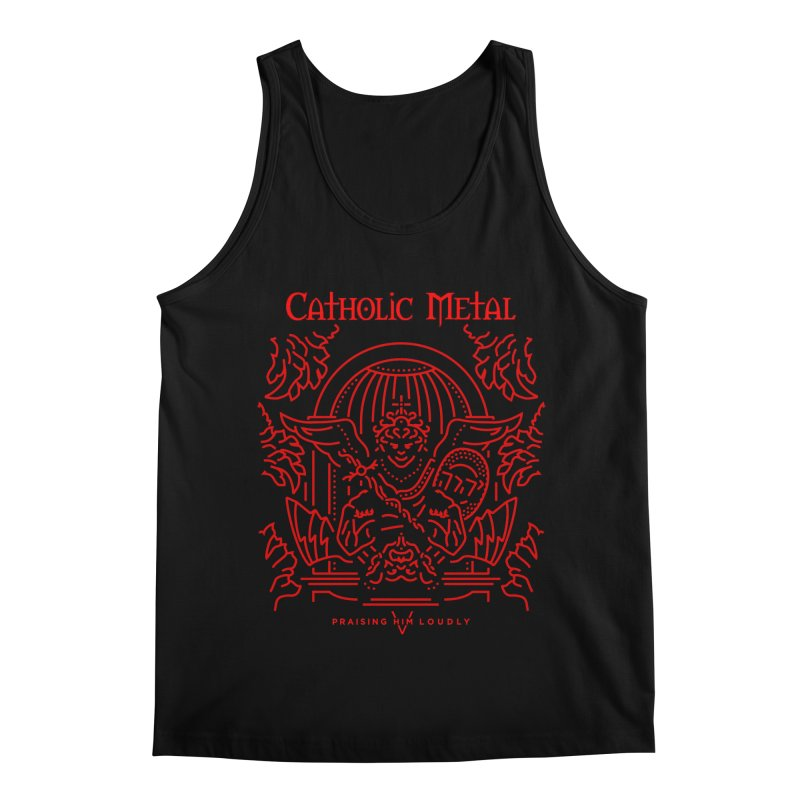 PHL 5: St Micheal Defeating Satan Line Art (Red) Men's Regular Tank by Catholic Metal Merch