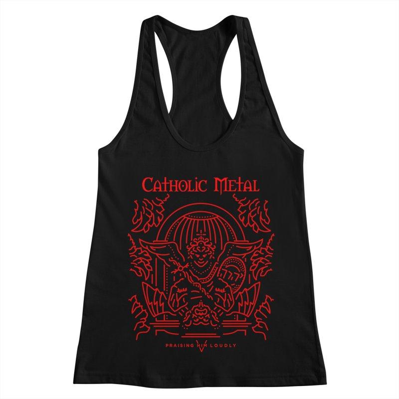 PHL 5: St Micheal Defeating Satan Line Art (Red) Women's Racerback Tank by Catholic Metal Merch