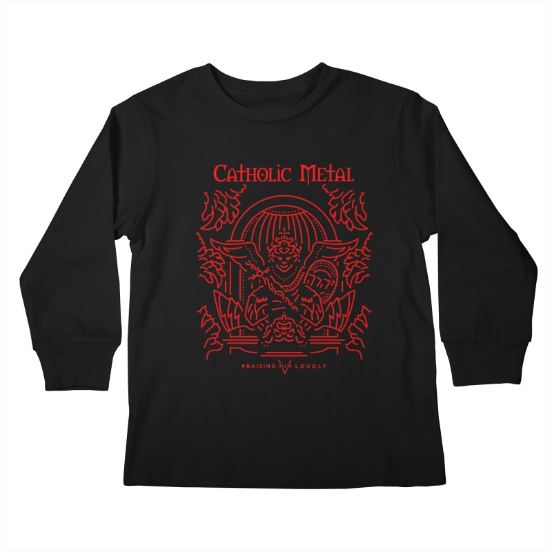 PHL 5: St Micheal Defeating Satan Line Art (Red) Kids Longsleeve T-Shirt by Catholic Metal Merch