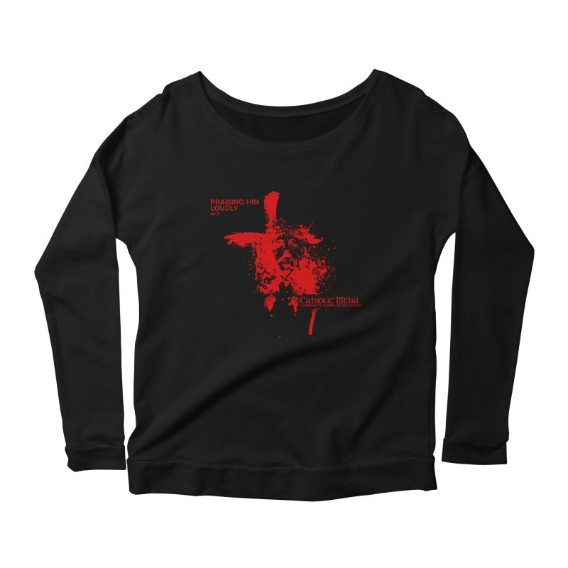 PHL2: Passion of Christ's Crucifixion Women's Scoop Neck Longsleeve T-Shirt by Catholic Metal Merch