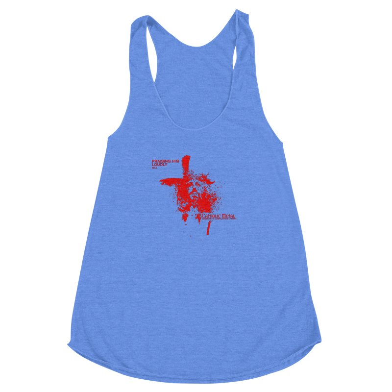 PHL2: Passion of Christ's Crucifixion Women's Racerback Triblend Tank by Catholic Metal Merch