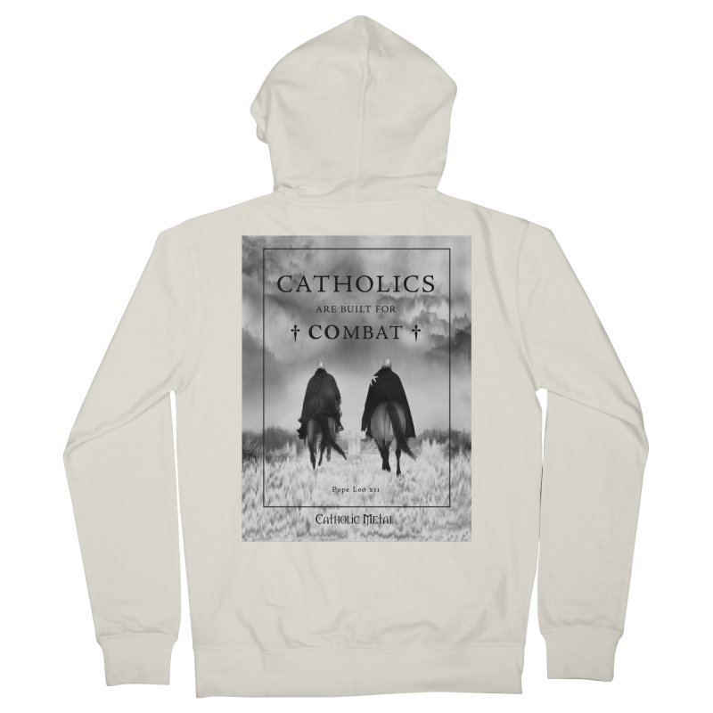 Catholics Are Built For Combat Women's French Terry Zip-Up Hoody by Catholic Metal Merch