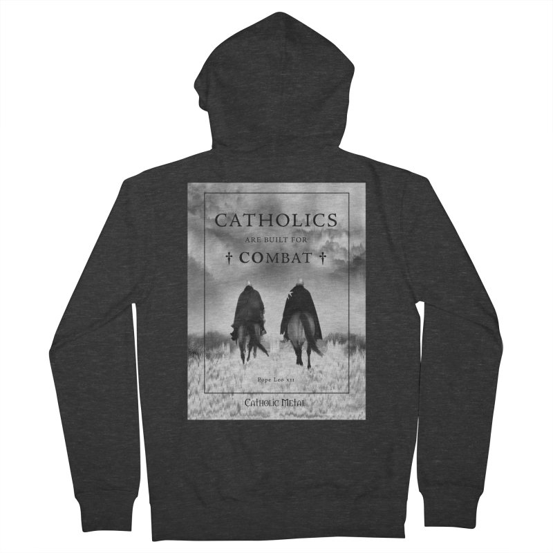 Catholics Are Built For Combat Men's French Terry Zip-Up Hoody by Catholic Metal Merch