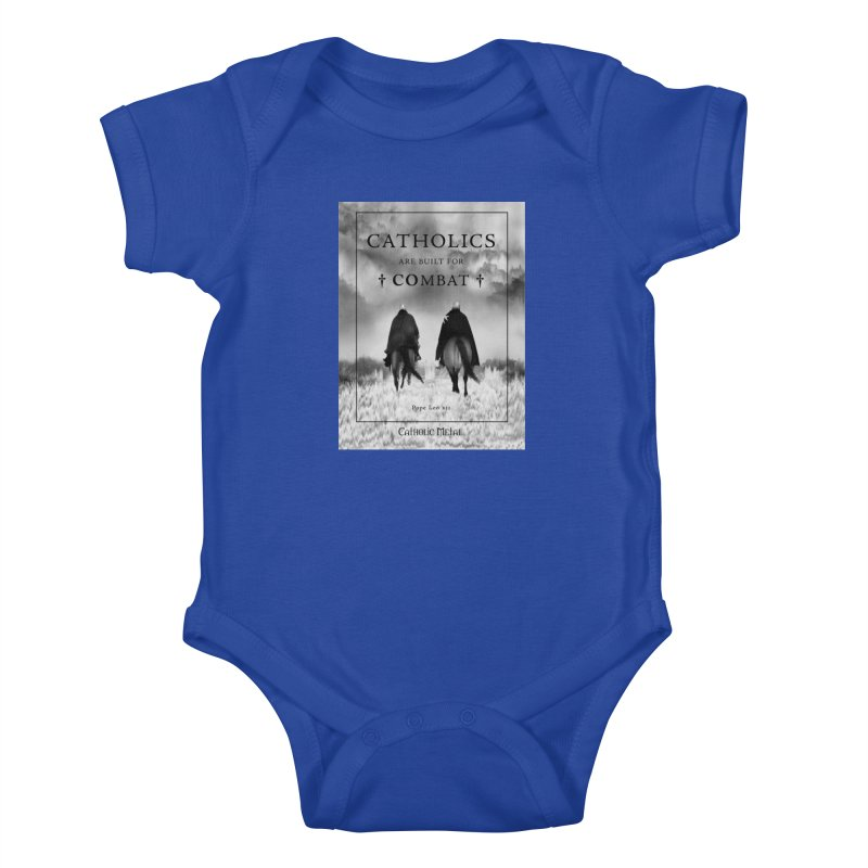 Catholics Are Built For Combat Kids Baby Bodysuit by Catholic Metal Merch