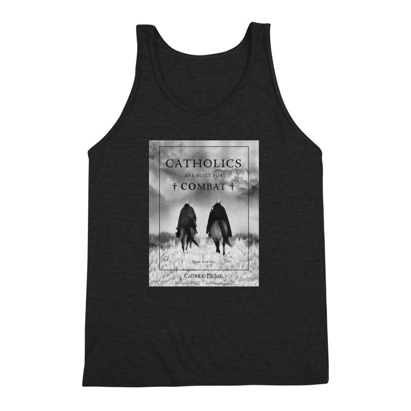 Catholics Are Built For Combat Men's Triblend Tank by Catholic Metal Merch