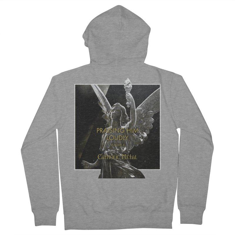 PHL4: Triumphant Angel Men's French Terry Zip-Up Hoody by Catholic Metal Merch