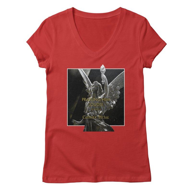 PHL4: Triumphant Angel Women's V-Neck by Catholic Metal Merch