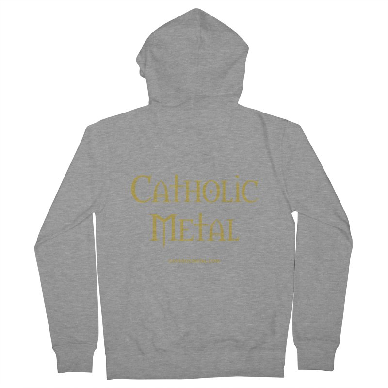 Catholic Metal Logo Women's French Terry Zip-Up Hoody by Catholic Metal Merch