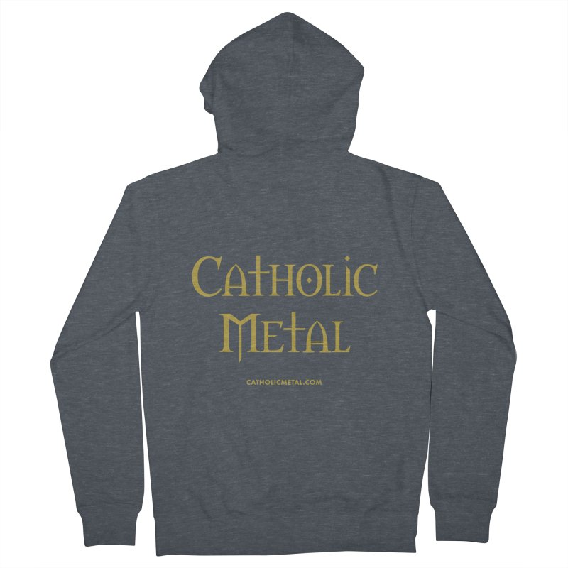 Catholic Metal Logo Men's French Terry Zip-Up Hoody by Catholic Metal Merch