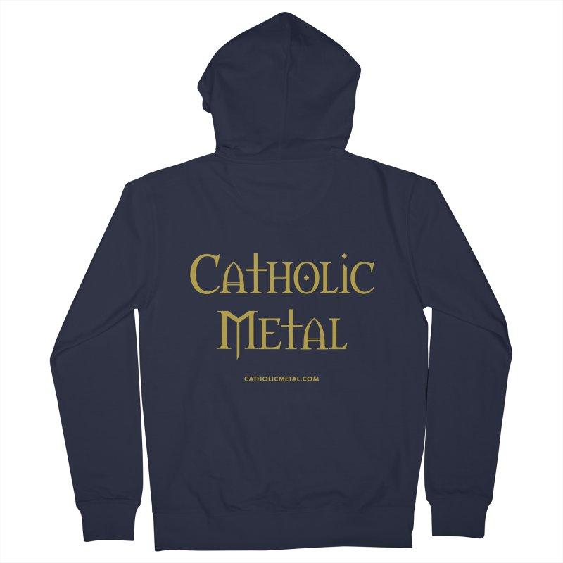 Catholic Metal Logo Men's French Terry Zip-Up Hoody by Catholic Metal Merch