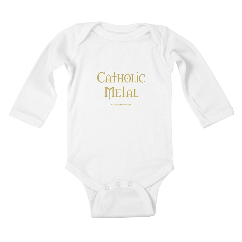 Catholic Metal Logo Kids Baby Longsleeve Bodysuit by Catholic Metal Merch