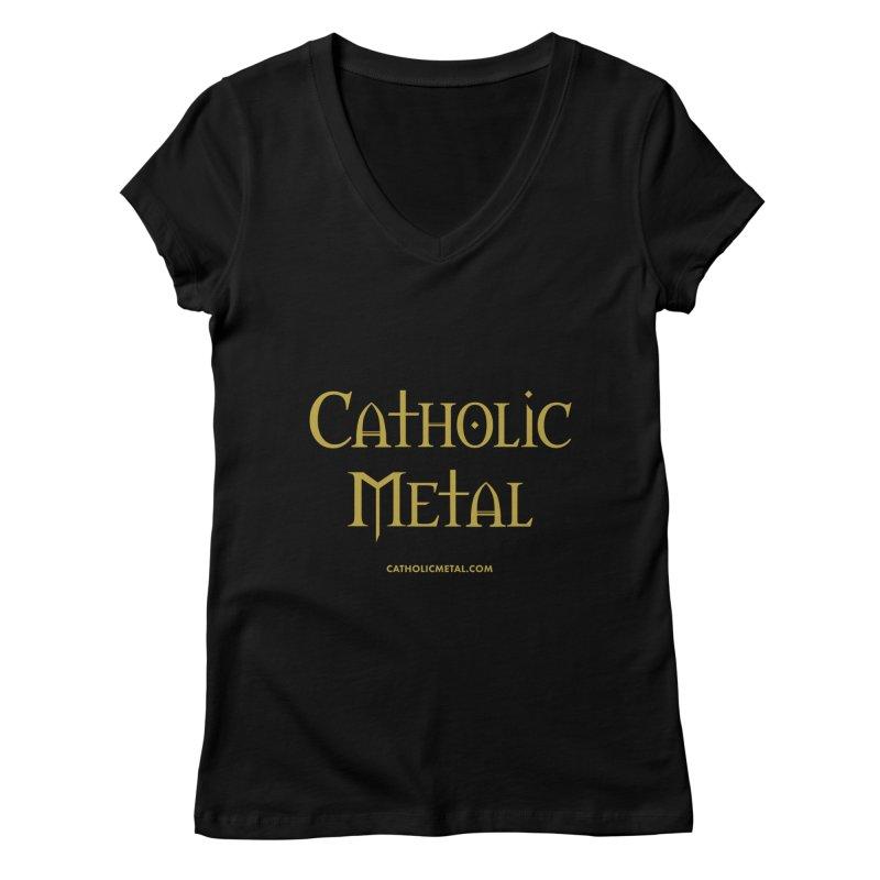 Catholic Metal Logo Women's V-Neck by Catholic Metal Merch