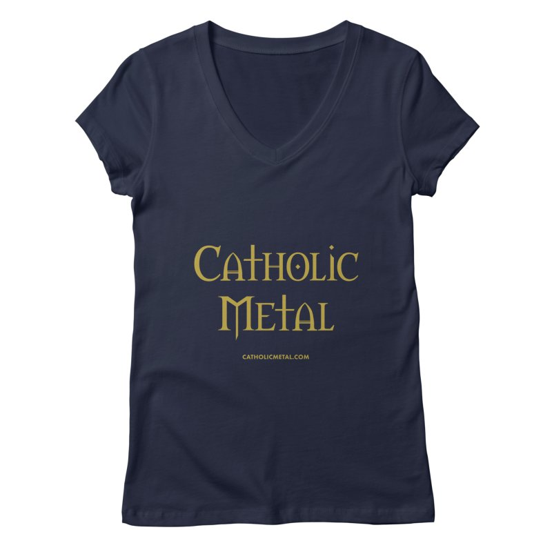 Catholic Metal Logo Women's Regular V-Neck by Catholic Metal Merch