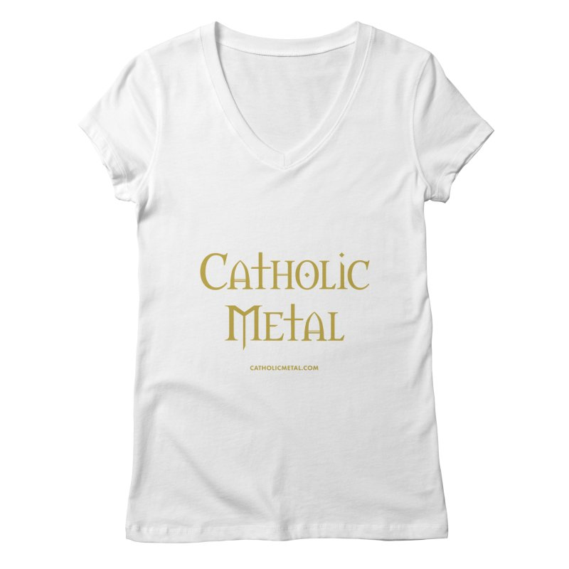 Catholic Metal Logo Women's V-Neck by Catholic Metal Merch