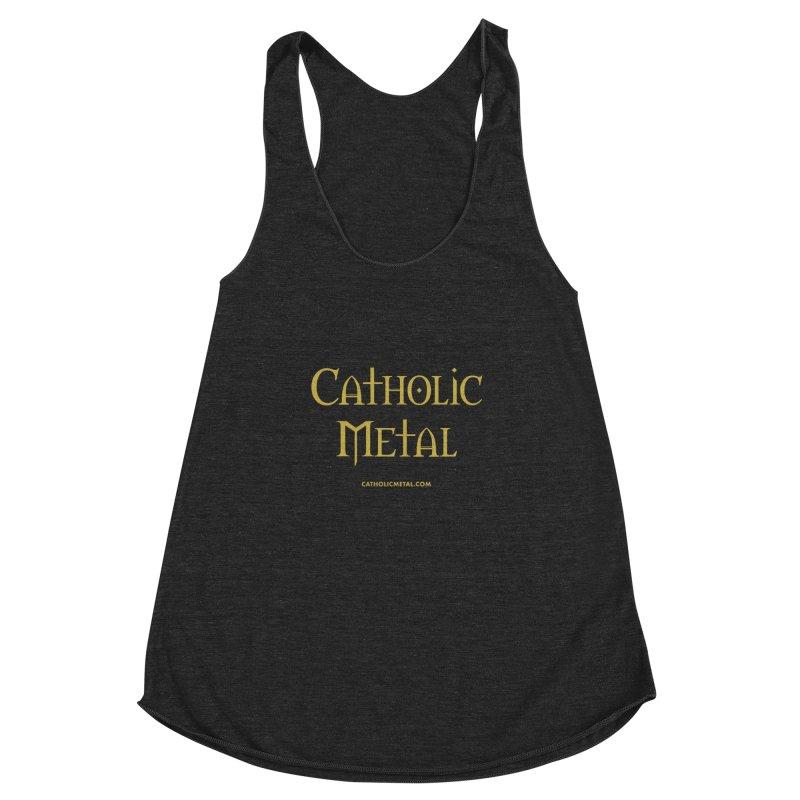 Catholic Metal Logo Women's Racerback Triblend Tank by Catholic Metal Merch