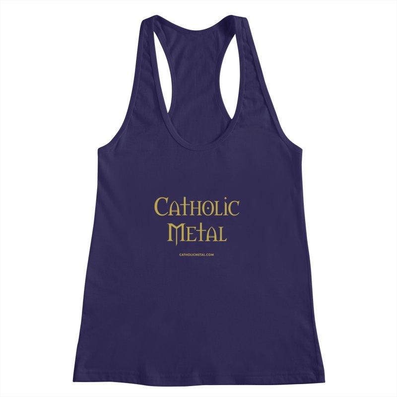 Catholic Metal Logo Women's Racerback Tank by Catholic Metal Merch