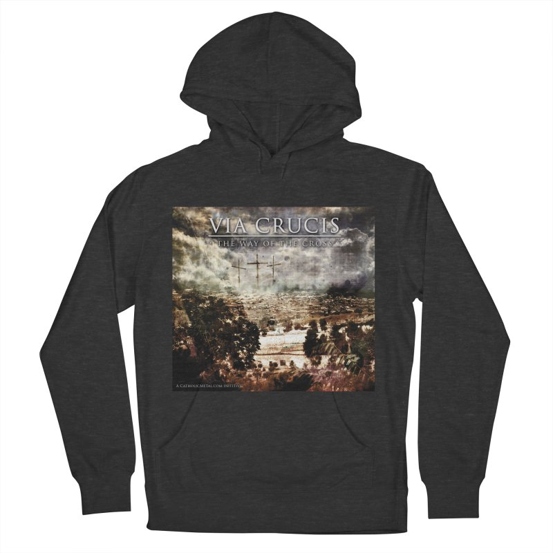 Via Crucis, The Way of the Cross Women's French Terry Pullover Hoody by Catholic Metal Merch