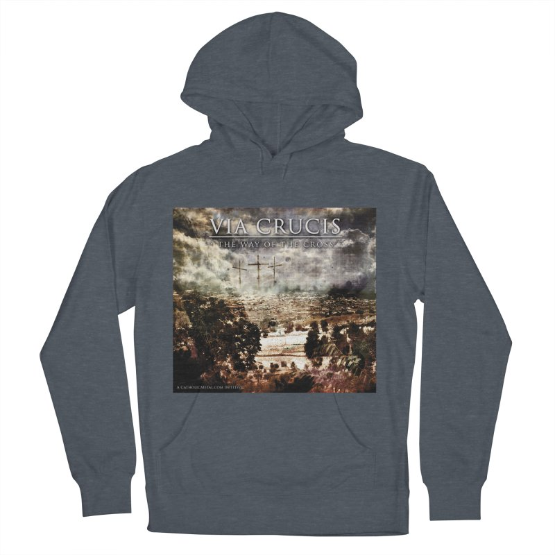 Via Crucis, The Way of the Cross Men's French Terry Pullover Hoody by Catholic Metal Merch
