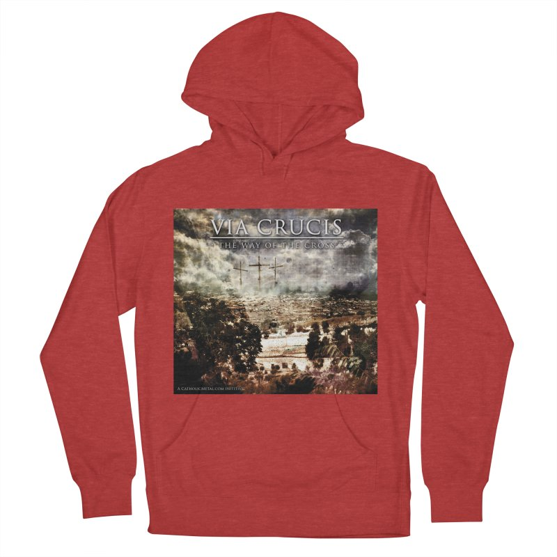 Via Crucis, The Way of the Cross Men's Pullover Hoody by Catholic Metal Merch