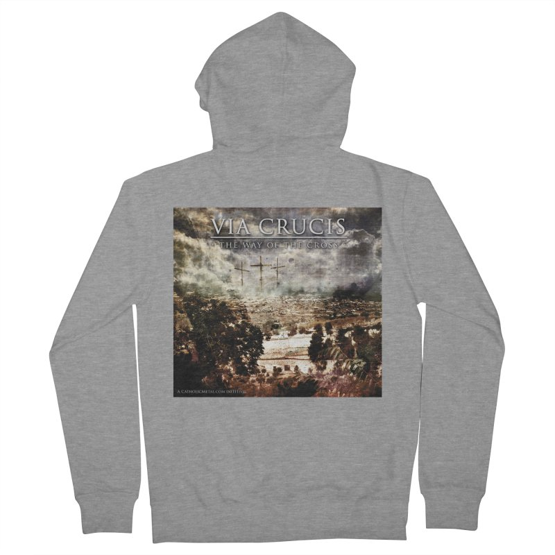 Via Crucis, The Way of the Cross Men's French Terry Zip-Up Hoody by Catholic Metal Merch