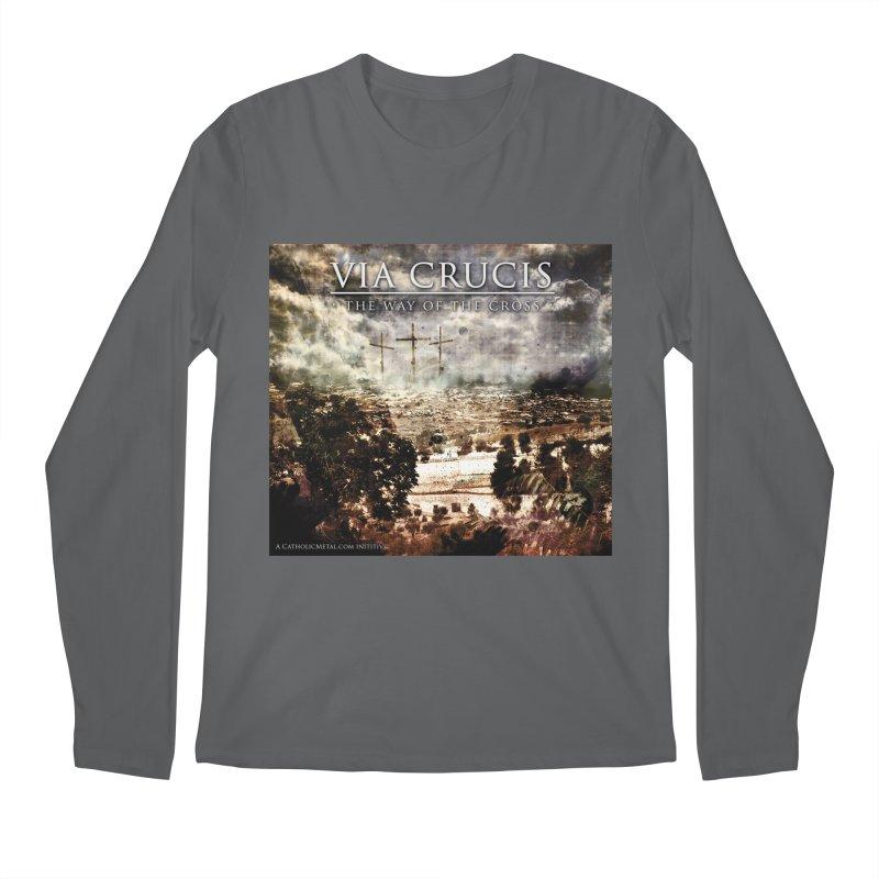 Via Crucis, The Way of the Cross Men's Regular Longsleeve T-Shirt by Catholic Metal Merch