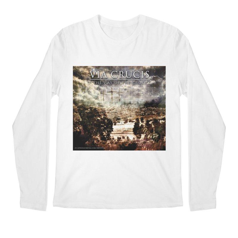 Via Crucis, The Way of the Cross Men's Longsleeve T-Shirt by Catholic Metal Merch