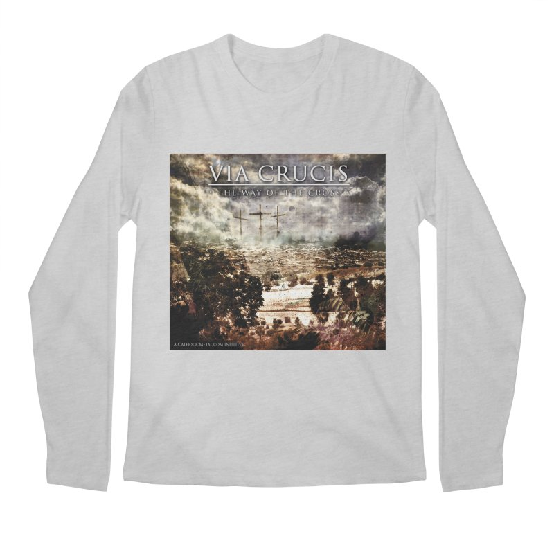 Via Crucis, The Way of the Cross Men's Regular Longsleeve T-Shirt by Catholic Metal Merch