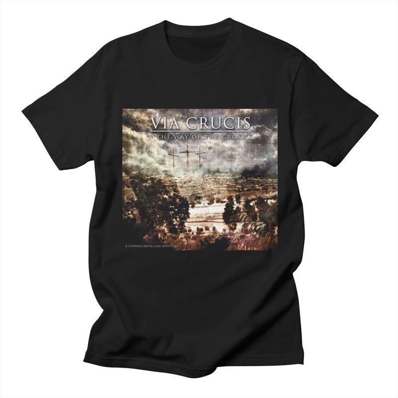 Via Crucis, The Way of the Cross Men's Regular T-Shirt by Catholic Metal Merch