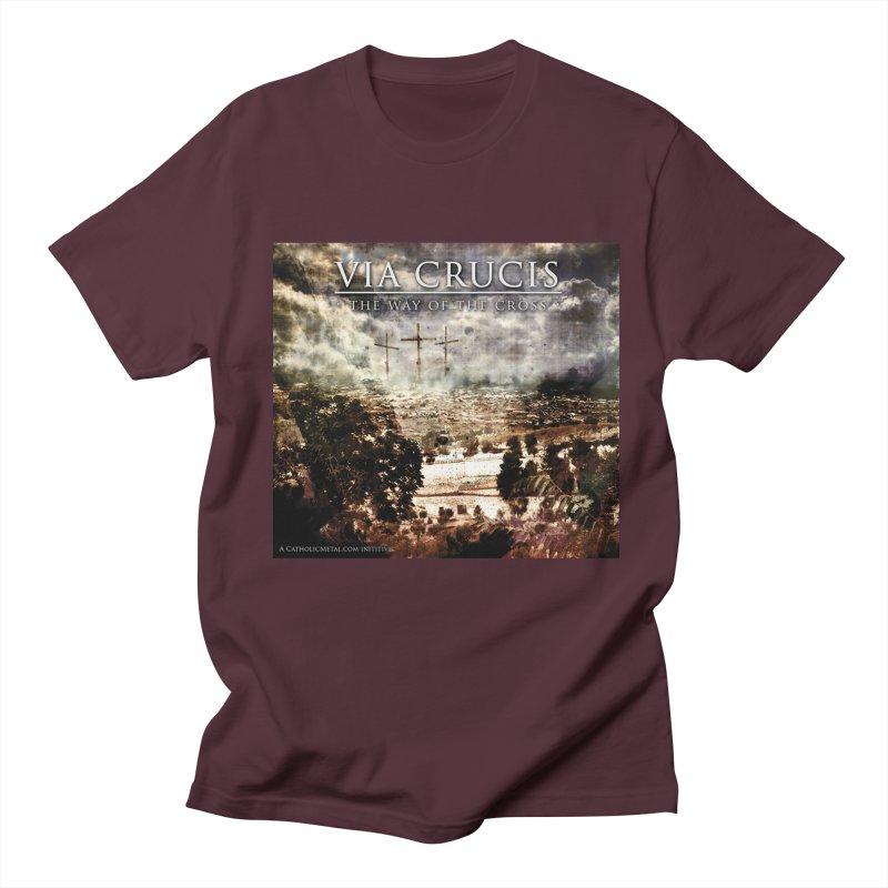 Via Crucis, The Way of the Cross Men's T-Shirt by Catholic Metal Merch