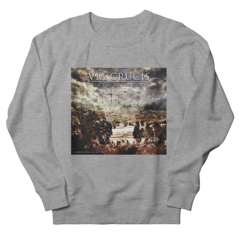 Via Crucis, The Way of the Cross Men's French Terry Sweatshirt by Catholic Metal Merch