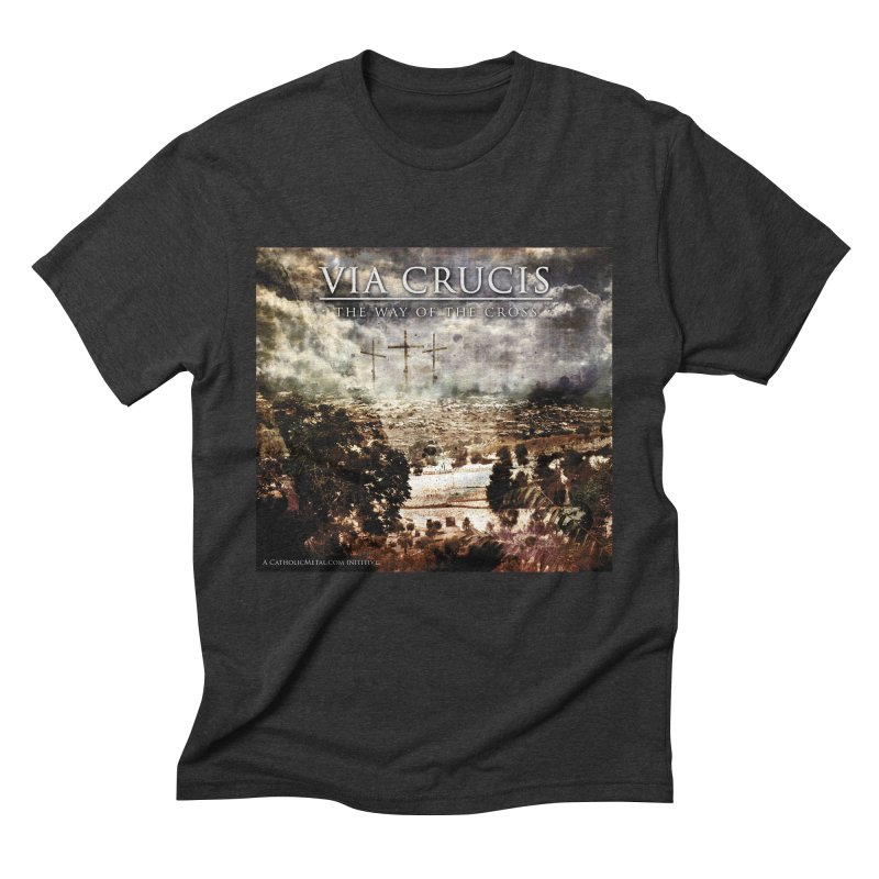 Via Crucis, The Way of the Cross Men's Triblend T-Shirt by Catholic Metal Merch
