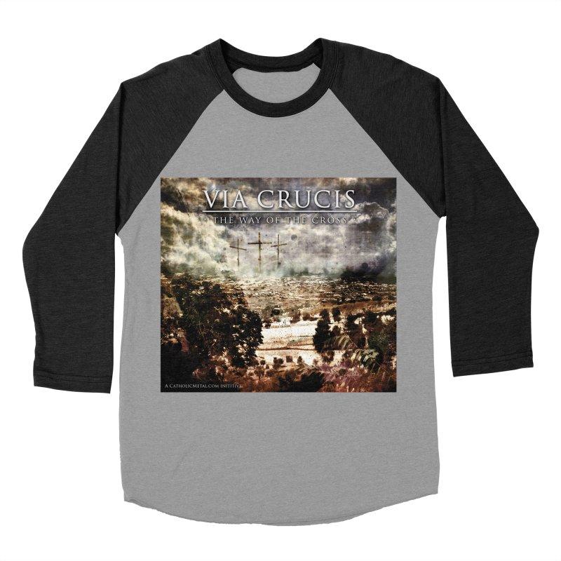 Via Crucis, The Way of the Cross Women's Baseball Triblend Longsleeve T-Shirt by Catholic Metal Merch