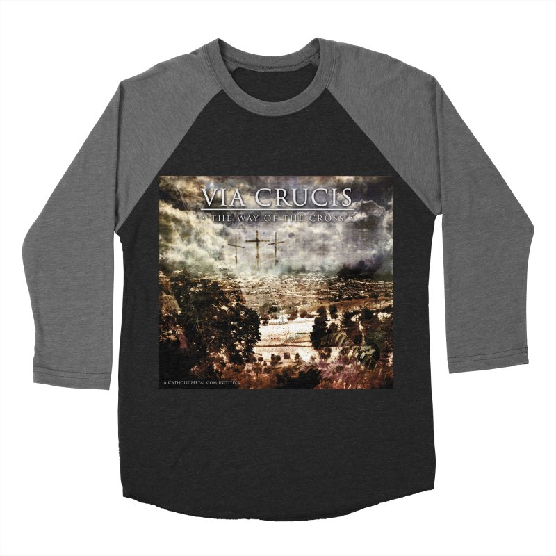 Via Crucis, The Way of the Cross Men's Baseball Triblend Longsleeve T-Shirt by Catholic Metal Merch