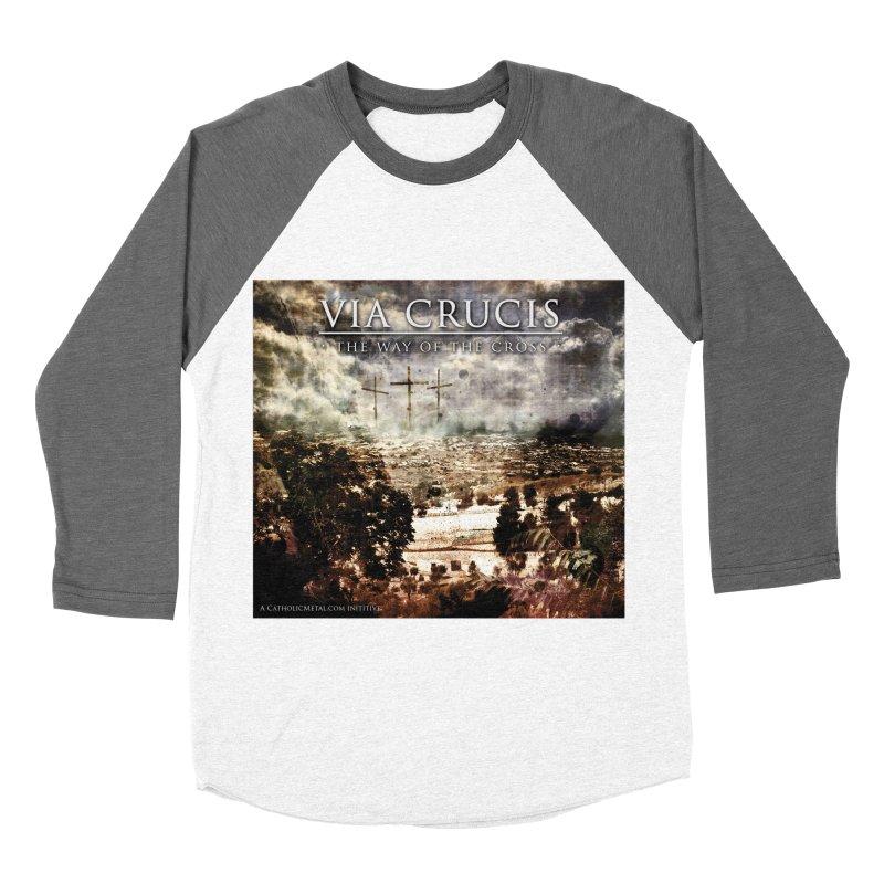 Via Crucis, The Way of the Cross Men's Baseball Triblend T-Shirt by Catholic Metal Merch