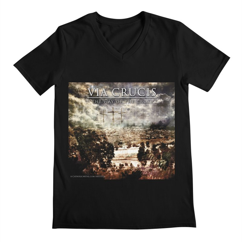 Via Crucis, The Way of the Cross Men's V-Neck by Catholic Metal Merch