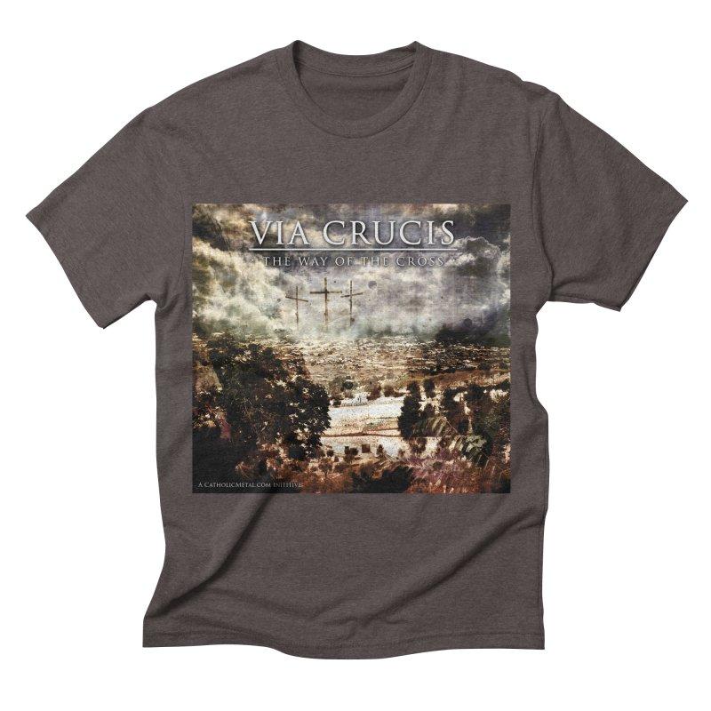 Via Crucis, The Way of the Cross Men's Triblend T-shirt by Catholic Metal Merch