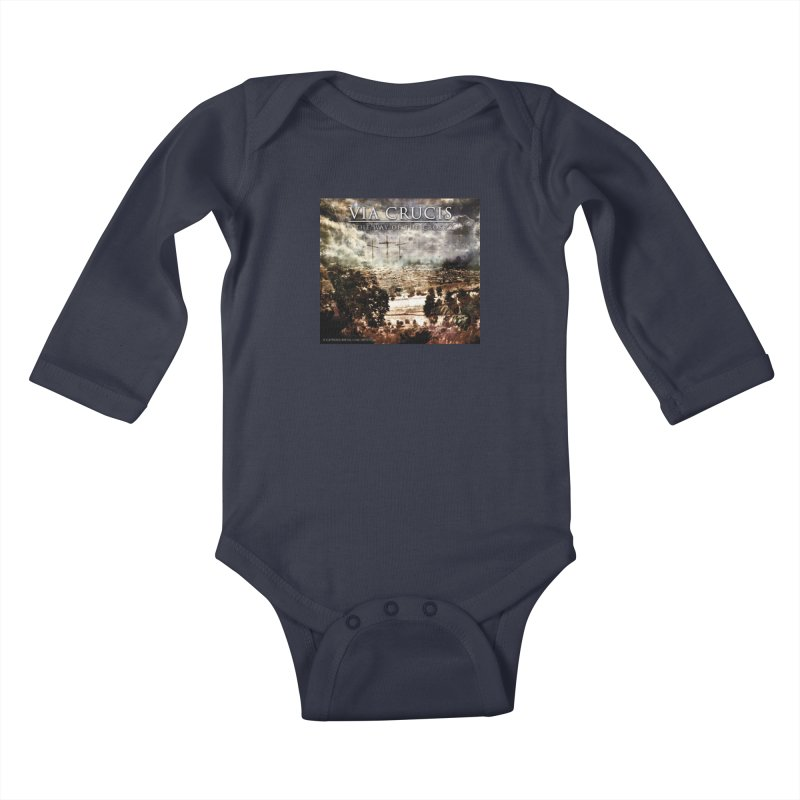 Via Crucis, The Way of the Cross Kids Baby Longsleeve Bodysuit by Catholic Metal Merch