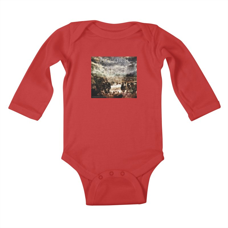 Via Crucis, The Way of the Cross Kids Baby Longsleeve Bodysuit by Catholic Metal Merch