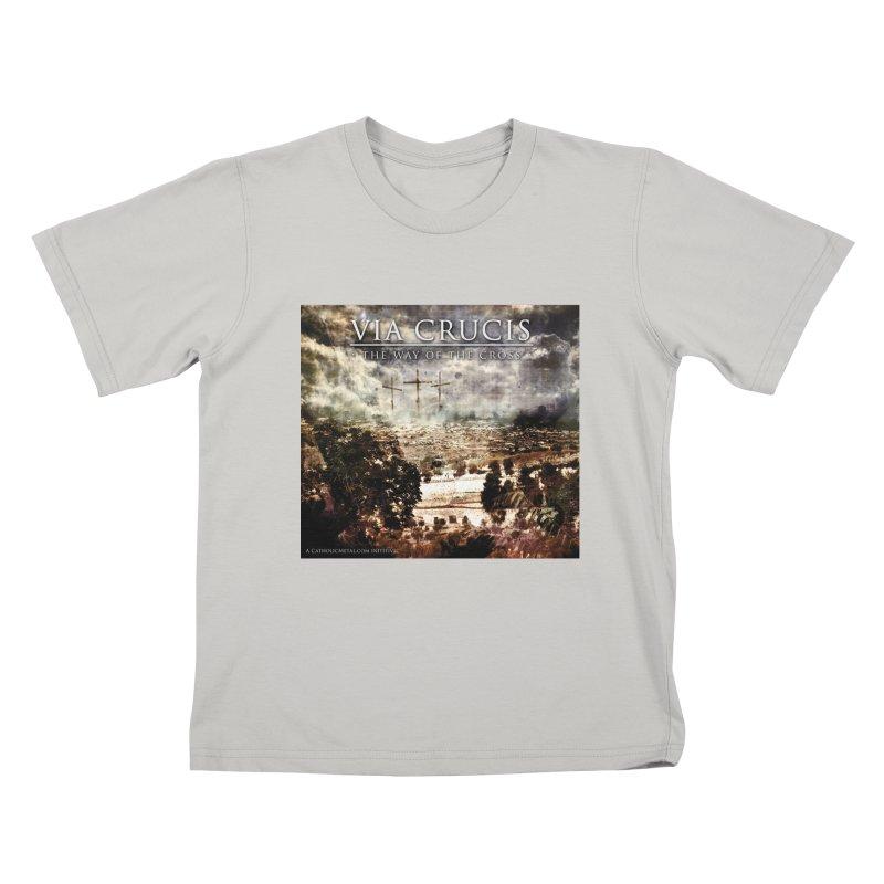 Via Crucis, The Way of the Cross Kids T-Shirt by Catholic Metal Merch